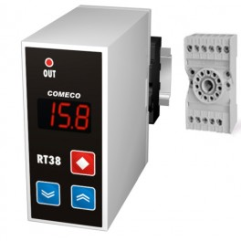 Thermocontroller, RT38-R.Q.C.B, 1 channel, isol. power supply 12 ... 24 V, 1 relay output, control algorithm ON-OFF, input RTD