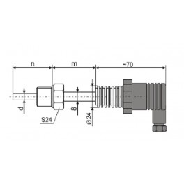 """TSOK RTD - Pt100 probe with current output 4...20 mA, 0...50 °C, d-6mm, n-25 mm, 2-wire, G1/2 """", 1.4301, IP65"""