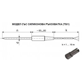 RTD probe with silicone handle, TSI1, Pt100, -50 ... 200 ° С, d-5 mm, n-50 mm, 1 m SLSL cable, DIN 1.4301